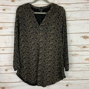 LUCKY BRAND Blouse XL Black Tan Patterned Top
